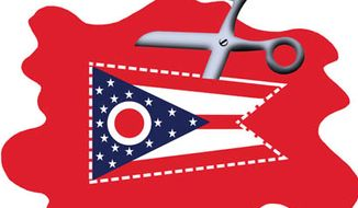 Illustration: Ohio cuts by Alexander Hunter for The Washington Times