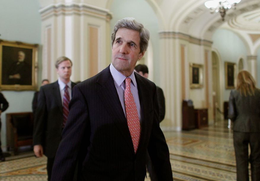 Sen. John F. Kerry, Massachusetts Democrat, may be for the Libya war before he is against it. (Associated Press)
