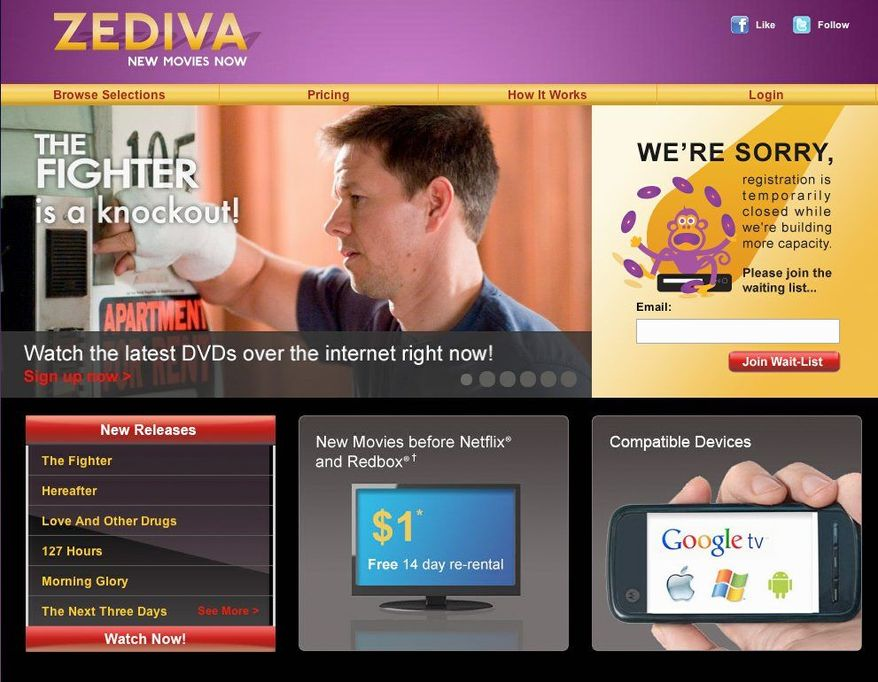 """Zediva Inc. is letting customers rent a DVD and a player that are actually located in the Silicon Valley. By doing so, the California startup is making new hit movies such as """"The Fighter"""" available for instant viewing online through a loophole. (Associated Press)"""