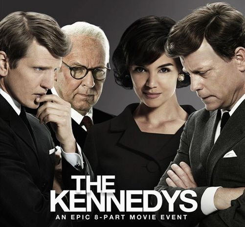 "From left, Barry Pepper, Tom Wilkinson, Katie Holmes and Greg Kinnear star in ""The Kennedys,"" beginning April 3 on Reelz Channel. (www.reelzchannel.com)"