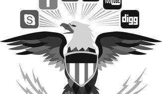 Illustration: DOD social media by Linas Garsys for The Washington Times