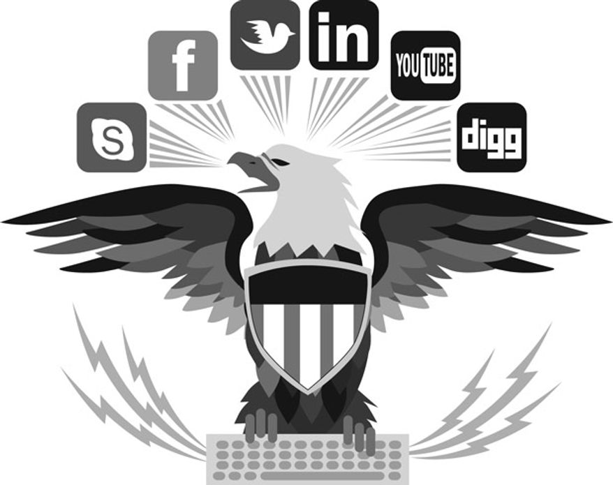 Illustration: DOD social media by Linas Garsys for The Washington Times