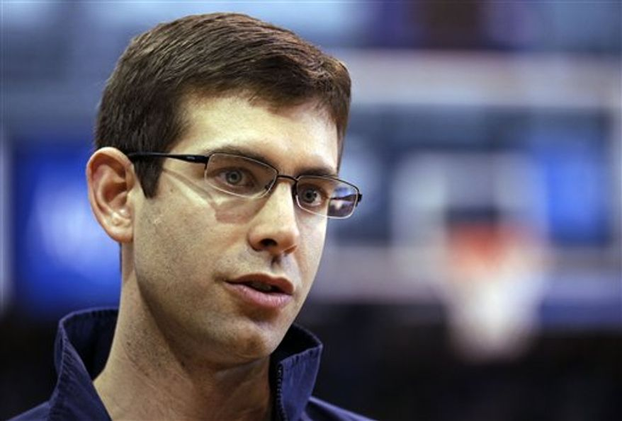 Butler coach Brad Stevens answers questions about his team in Indianapolis, Monday, March 21, 2011. Butler is scheduled to play Wisconsin on Thursday in the NCAA college basketball tournament Southeast regional in New Orleans.  (AP Photo/Michael Conroy)