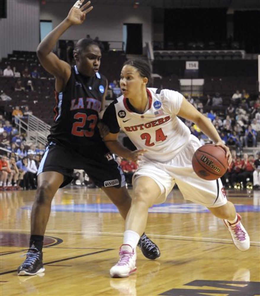 Rutgers guard Erica Wheeler (3) drives to the basket against Louisiana Tech during the first half of an NCAA women's college basketball tournament game, Sunday, March 20, 2011, in Shreveport, La. (AP Photo/Greg Pearson)