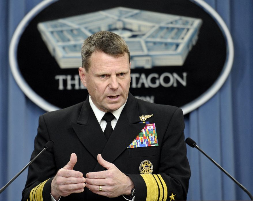 U.S. Navy Vice Adm. William E. Gortney, staff director of the Joint Chiefs of Staff, gives an operational update on Libya at the Pentagon outside Washington on Sunday, March 20, 2011. (AP Photo/Cliff Owen)