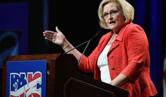 "Sen. Claire McCaskill and her husband agreed Monday to pay more than $287,000 in overdue property taxes on a private airplane she used for official business. She had used the aircraft for a political trip. ""Millionaire Claire McCaskill wants to simply write yet another big check and hope people won't ask any more questions,"" said Republican Party official Rob Jesmer. (Associated Press)"