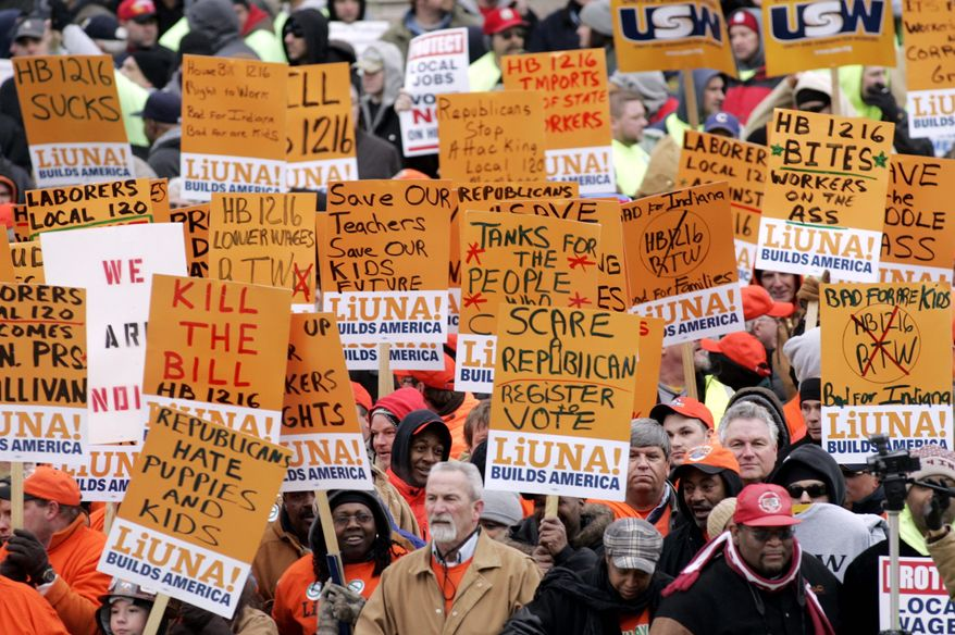 Union workers have staged daily rallies this month at the Statehouse in Indianapolis to protest bills they say are unfair to Indiana's union workers. Public employees across the country are feeling the budget squeeze as legislators try to take the knife to their health care and pensions. (Associated Press)