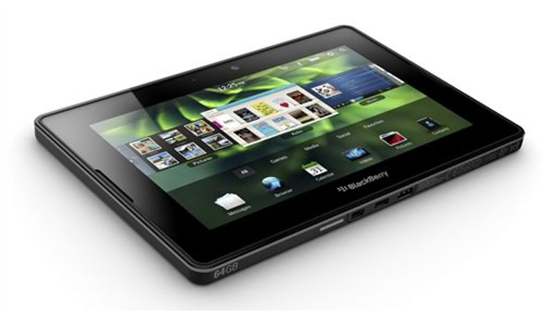 In this March 22, 2011 product image provided by Research In Motion Ltd., the upcoming BlackBerry PlayBook is shown. Research In Motion Ltd. says its tablet computer, the BlackBerry PlayBook, will start selling in the U.S. and Canada on April 19 for $499 to $699. (AP Photo/The Canadian Press, Research In Motion) NO SALES
