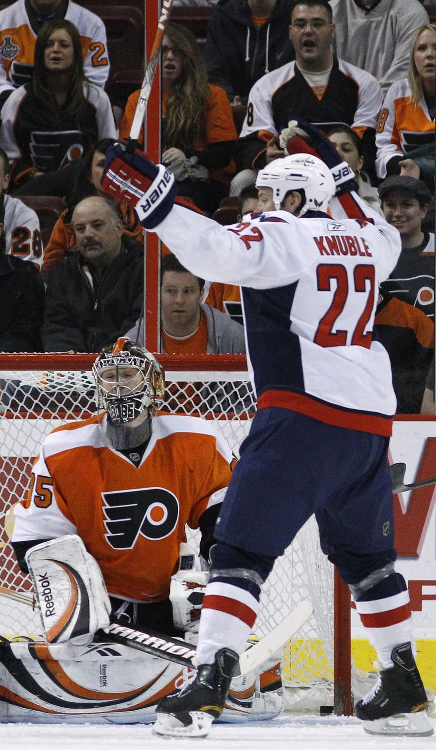 Washington Capitals' Mike Knuble (22) celebrates a goal by teammate Dennis Wideman, not pictured, against Philadelphia Flyers' Sergei Bobrovsky (35), of Russia, in the second period of an NHL hockey game, Tuesday, March 22, 2011, in Philadelphia. (AP Photo/Matt Slocum)