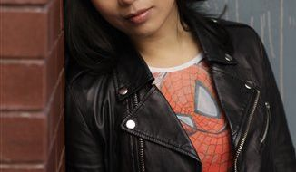 "In this Feb. 8, 2011 photo, actress T.V. Carpio, who is playing Arachne in the musical ""Spider-Man: Turn Off the Dark"", poses for a picture in New York. Producers of the $65 million musical said Tuesday, March 22, 2011, that Carpio, who plays an evil spider woman called Arachne, was hurt last week during an onstage battle scene. She will be out for the next two weeks. (AP Photo/Seth Wenig)"