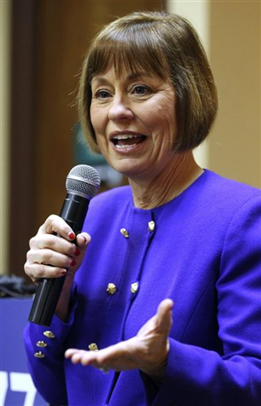Nevada congressional candidate Sharron Angle answers  questions from the media on Monday, March 21, 2011, in Reno, Nev.  Angle says she has the best chance to win a race for an open U.S. House seat in Nevada because of her anti-tax voting record and ability to attract votes in the conservative district. (AP Photo/Cathleen Allison)