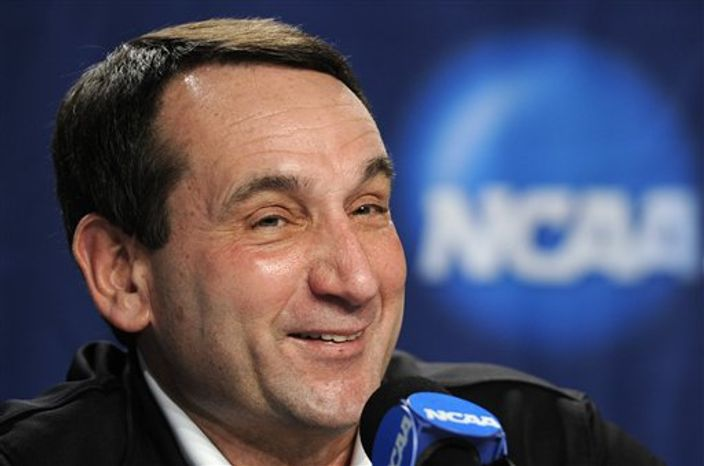 Duke head coach Mike Krzyzewski speaks during a news conference for a West regional semifinal game in the NCAA college basketball tournament, Wednesday, March 23, 2011, in Anaheim, Calif. (AP Photo/Mark J. Terrill)