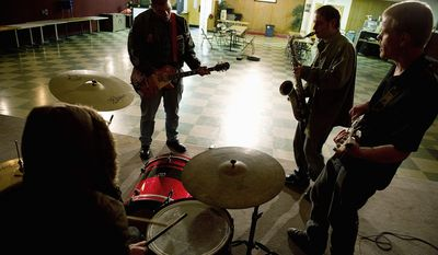 """The Samsarians (seen here) and other RVA artists appreciate the booming acoustics of the live room at Samis Grotto. The space """"was built, shaped and modeled for voice amplification, RVA's Mr. Reinhard says. (Barbara L. Salisbury/The Washington Times)"""