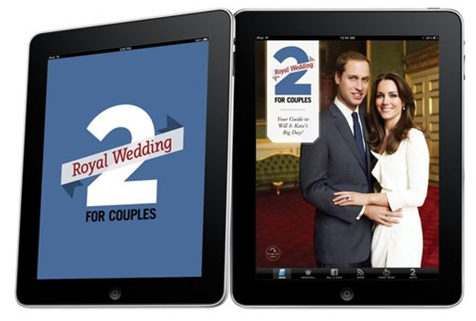 In this image released by Toronto-based 2 For Life Media Inc., Thursday March 24, 2011, their iPad royal wedding app that lets users share marriage advice and wedding tips to the royal couple through a virtual guestbook is seen. More than a dozen smartphone apps are offering to bring fans everything royal wedding-related wherever they are _ so they can check the days and minutes until Prince William and Kate Middleton's April 29 wedding, hoard news and pictures about them and instantly share their favorite royal wedding tidbits on social media networks. (AP Photo/HO 2 For Life Media Inc) EDITORIAL USE ONLY NO SALES