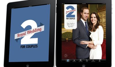 In this image released by Toronto-based 2 For Life Media Inc. on Thursday March 24, 2011, its iPad royal wedding app that lets users share marriage advice and wedding tips to the royal couple through a virtual guestbook. More than a dozen smartphone apps are offering to bring fans everything royal wedding-related wherever they are -- so they can check the days and minutes until Prince William and Kate Middleton's April 29 wedding. (AP Photo/HO 2 For Life Media Inc)