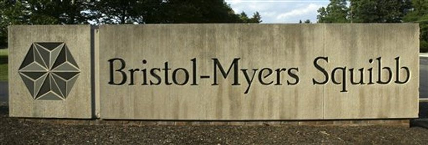 FILE - In this June 15 2005 file photo, a sign stands in front of the Bristol-Myers Squibb Company's headquarters in Lawrence Township, N.J. The Food and Drug Administration has approved a breakthrough cancer medication from Bristol-Myers Squibb Co. Friday, March 25, 2011, that researchers have heralded as the first drug to prolong the lives of patients with melanoma. (AP Photo/Mel Evans, file)