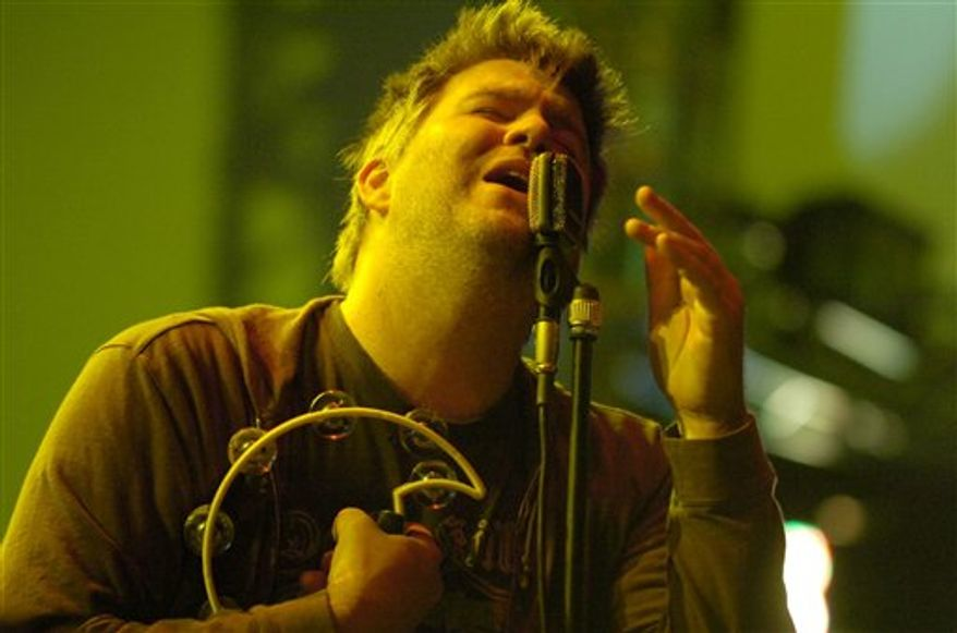 FILE - In this June 29, 2007 file photo, James Murphy, of the group LCD Sound System, performs on stage, during a concert at the music open air in St. Gallen, Switzerland. LCD Soundsystem will live stream their highly anticipated final show at Madison Square Garden on April 2, 2011. Pitchfork.com will host the webcast. (AP Photo/KEYSTONE, Regina Kuehne)
