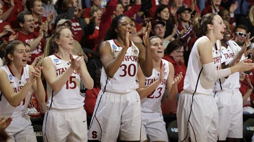 From left to right, Stanford guard Toni Kokenis, guard Lindy La Rocque (15), forward Nnemkadi Ogwumike (30), guard Jeanette Pohlen (23), forward Kayla Pedersen and forward Chiney Ogwumike celebrate late in the second half against St. John's in a second-round NCAA women's college basketball tournament game in Stanford, Calif., Monday, March 21, 2011. Stanford defeated St. John's 75-49. (AP Photo/Paul Sakuma)