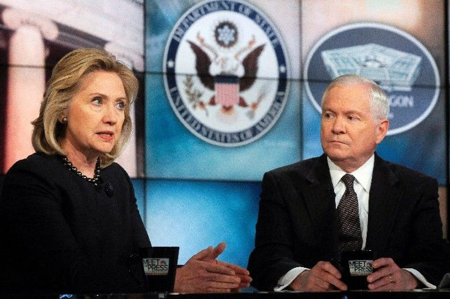 """Secretary of State Hillary Rodham Clinton and Secretary of Defense Robert M. Gates discuss the Middle East turmoil on NBC's """"Meet the Press"""" on Sunday. Mr. Gates said he doesn't think Libya itself is """"a vital interest,"""" but it is part of a region that is of vital interest to the U.S. (Associated Press)"""
