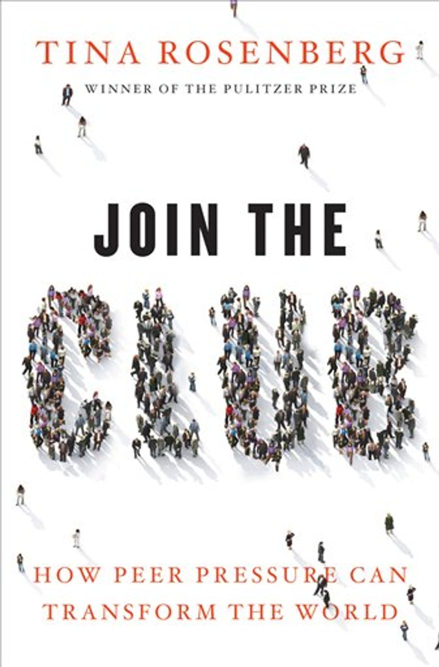 "In this book cover image released by W.W. Norton, ""Join the Club: How Peer Pressure Can Transform the World,"" by Tina Rosenberg, is shown. (AP Photo/W.W. Norton)"