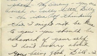 This photo released by RR Auction of Amherst, N.H., shows a page of a letter written in 1949, by the late actress Elizabeth Taylor to her first fiance, William Pawley, when she was 17 years-old. The two were engaged briefly in 1949. More than 60 of her unpublished love letters to Pawley are being put up for auction by RR Auction in New Hampshire.  (AP Photo/RR Auction)   NO SALES