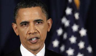 President Obama delivers an address on Libya at the National Defense University in Washington on Monday, March 28, 2011. (AP Photo/Manuel Balce Ceneta)