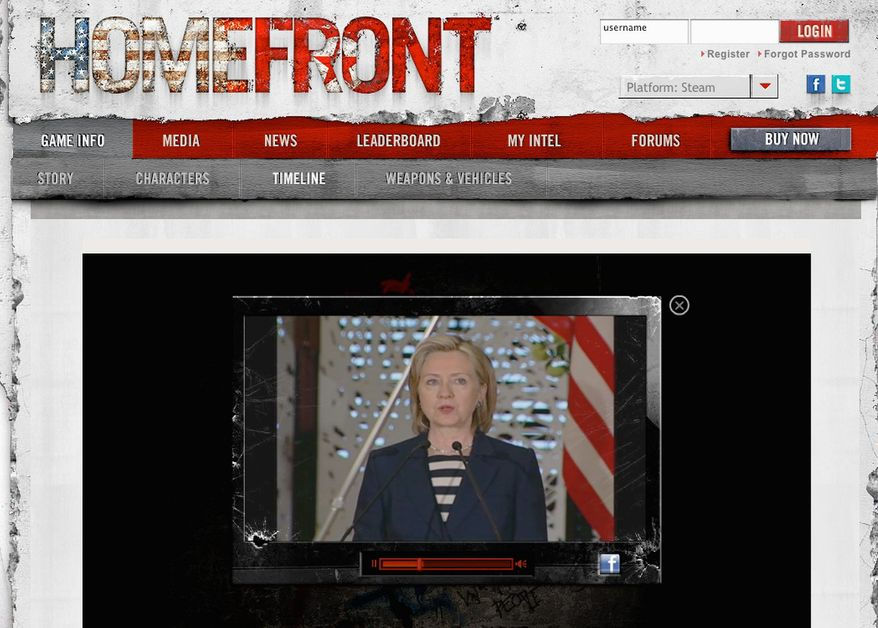 """To add realism to """"Homefront,"""" a new military """"shooter"""" video game from the filmmaker behind the 1980s movie """"Red Dawn,"""" footage is included of Secretary of State Hillary Rodham Clinton describing the sinking of a South Korean ship by a North Korean submarine. (""""Homefront"""" screen grabs)"""