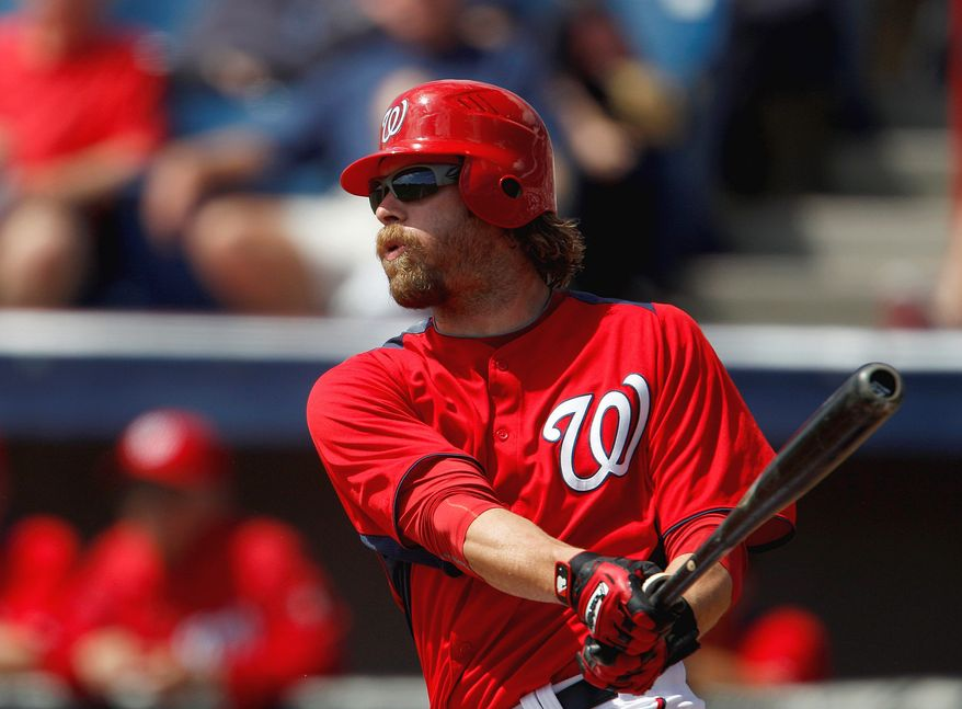 "Jayson Werth, who averaged 29 home runs the past three seasons with the Philadelphia Phillies, is under ""no pressure,"" according to Nationals general manager Mike Rizzo, despite his hefty contract, the 14th most lucrative ever in the game. (Associated Press)"