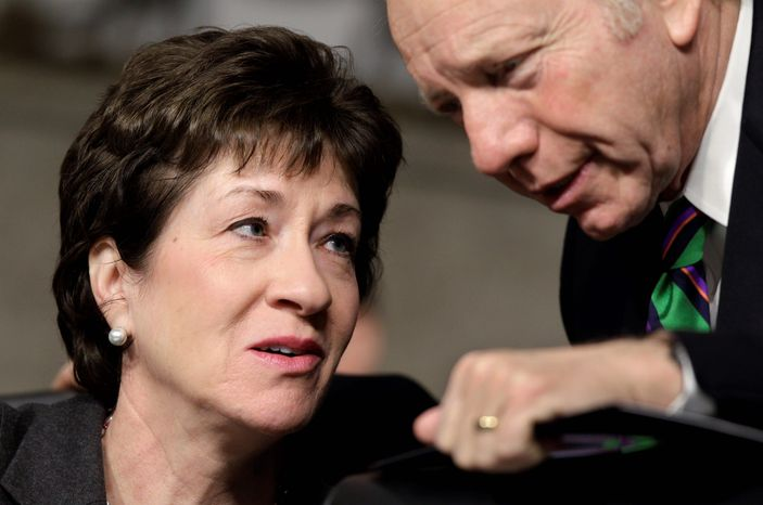 Sens. Susan Collins, Maine Republican, and Joe Lieberman, Connecticut independent, want information on federal grant funding of counterterrorism training and the standards that training has to meet to qualify for funding. (Associated Press)