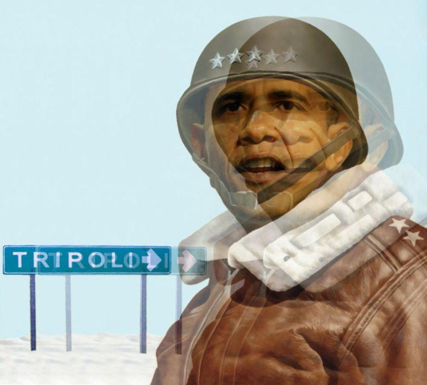 Illustration: Gen. Obama by Alexander Hunter for The Washington Times