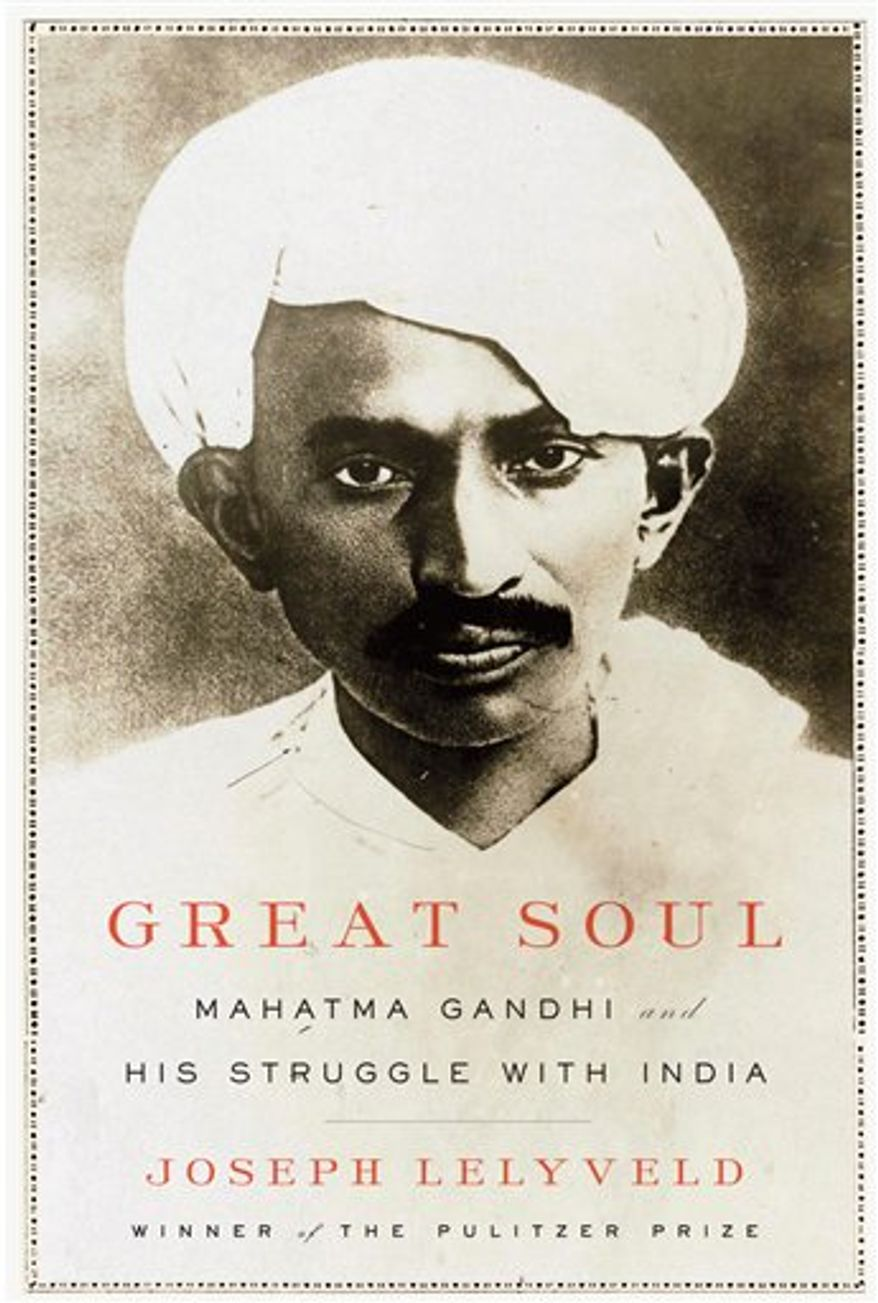 "In this book cover image released by Knopf, ""Great Soul: Mahatma Gandhi and His Struggle With India"", by Joseph Lelyveld, is shown. (AP Photo/Knopf)"