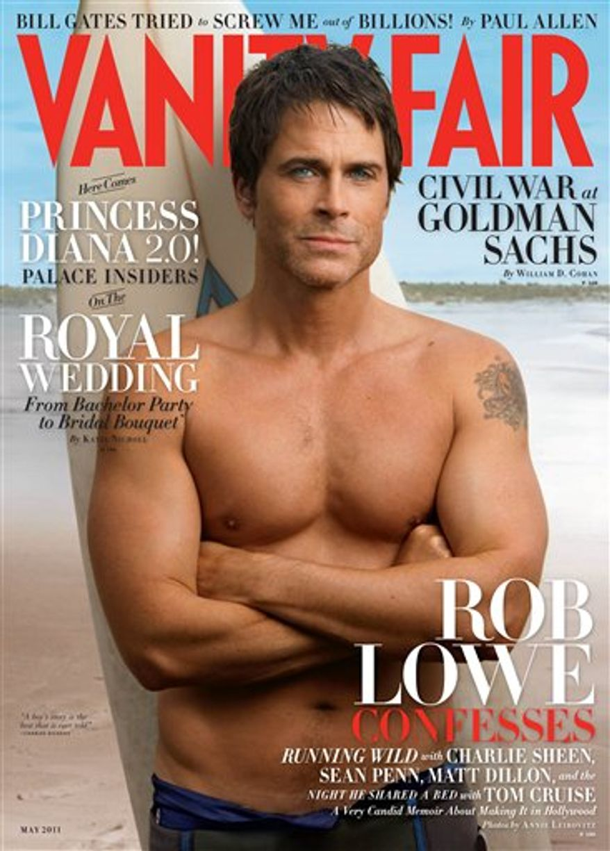 """In this magazine cover image taken by Annie Leibovitz exclusively for Vanity Fair, actor Rob Lowe is shown on the cover of the May 2011 issue of """"Vanity Fair."""" (AP Photo/Annie Leibovitz exclusively for Vanity Fair) NO SALES"""