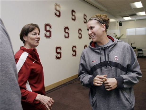 Stanford head coach Tara VanDerveer, left, smiles at guard Jeanette Pohlen, right, during a NCAA college basketball news conference in Stanford, Calif., Wednesday, March 30, 2011. Stanford will play Texas A&M in the Final Four on Sunday. (AP Photo/Paul Sakuma)