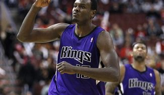 Sacramento Kings' Donte Greene will play in the Goodman League this summer, but will also consider playing overseas if the NBA lockout continues. He scored 24 points in Lincoln Park's win over the Running Rebels. (AP Photo/Matt Slocum)