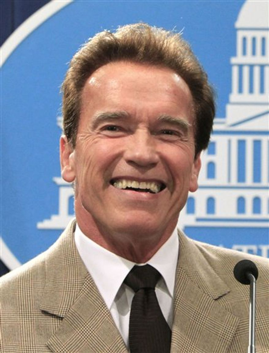 "FILE - In this Dec. 6, 2010 file photo, then California Gov. Arnold Schwarzenegger smiles during a during a news conference in Sacramento, Calif. Schwarzenegger could soon return to his acting career with a new animated TV show called ""The Governator."" The project is in partnership with comic-book legend Stan Lee and animated film producer Andy Heyward. It will be officially announced Monday, April 4, 2011 at the MIPTV trade show in Cannes, France. (AP Photo/Rich Pedroncelli, File)"