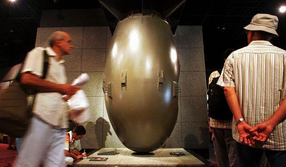 A replica of the 4.5-ton atomic bomb Fat Man is at the Nagasaki Atomic Bomb Museum in Nagasaki, western Japan. (Associated Press)