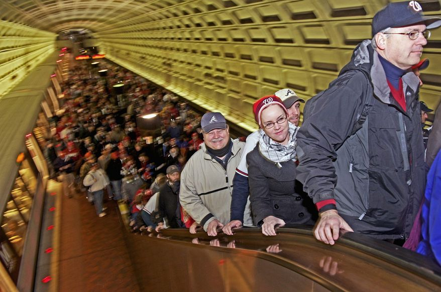 Fans make their way from Metro to Nationals Park in anticipation of Opening Day at the stadium Thursday. Unfortunately, the Nats lost to Atlanta 2-0. (Rod Lamkey Jr./The Washington Times)