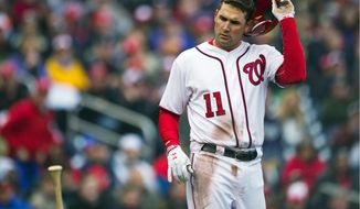 Washington slugger Ryan Zimmerman went one-for-three at the plate on a frustrating Opening Day 2011 for Nats hitters against the Atlanta Braves' Derek Lowe on Thursday. (Drew Angerer/The Washington Times)