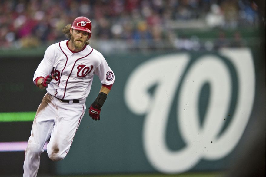 Jayson Werth, a former Phillie, singled in his first at-bat as a Nat on Thursday and made two nice plays in the field. (Drew Angerer/The Washington Times)