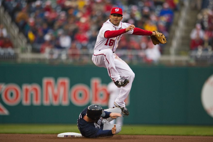 Nationals second baseman Danny Espinosa forces out Brian McCann in a double-play bid in the seventh inning of the Opening Day game against the Atlanta Braves at home Thursday. (Drew Angerer/The Washington Times)