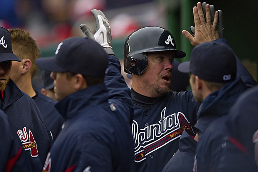 Chipper Jones doubled and scored in the first inning to give the Braves a lead they would never relinquish Thursday. (Drew Angerer/The Washington Times)