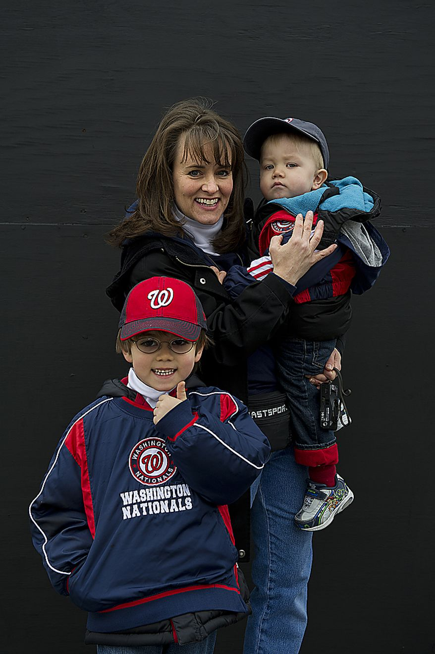 Samantha Peele of Ashburn, Va., brought her two sons Ryan, 5 1/2, and Jason, 2, to opening day Thursday, March 31, 2011 at Nationals Park in Washington, D.C. (Barbara L. Salisbury/The Washington Times)