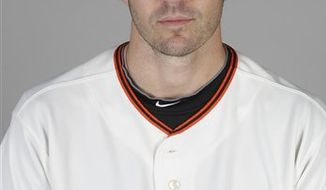 FILE - This 2011 photo shows San Francisco Giants baseball pitcher Barry Zito.  Zito was taken to a hospital after his car was hit broadside at a West Hollywood intersection. The crash occurred shortly before 8 p.m. Wednesday, March 30, 2011,  at Sunset Boulevard and Sunset Plaza Drive, Los Angeles County Sheriff's spokesman Sgt. Joseph Morien told The Associated Press. (AP Photo/Marcio Jose Sanchez, File)