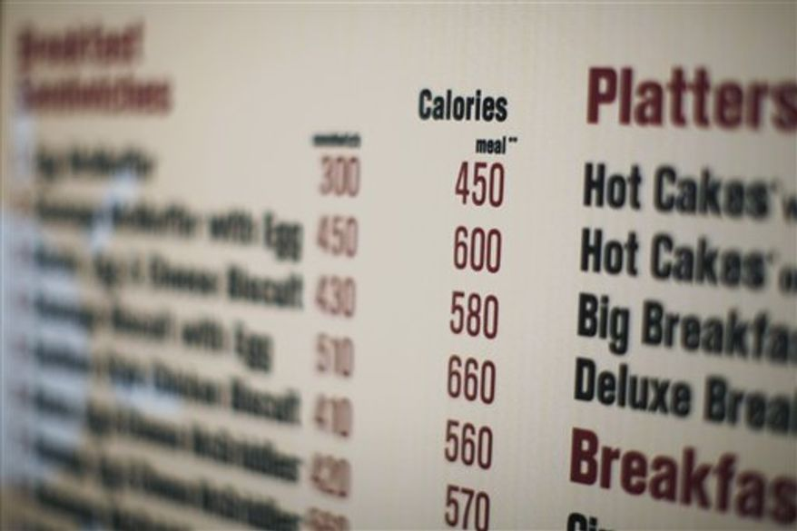 FILE - In this July 18, 2008 file photo, calories of each food item appear on a McDonalds drive-thru menu in New York. Like it or not, many restaurant diners will soon know more about what they are eating under menu labeling requirements proposed Friday by the Food and Drug Administration. The requirements will force chain restaurants with 20 or more locations, along with bakeries, grocery stores, convenience stores and coffee chains, to clearly post the amount of calories in each item on menus, both in restaurants and drive-through lanes. The new rules will also apply to vending machines where calorie information isn't already visible on the package.  (AP Photo/Ed Ou, File)
