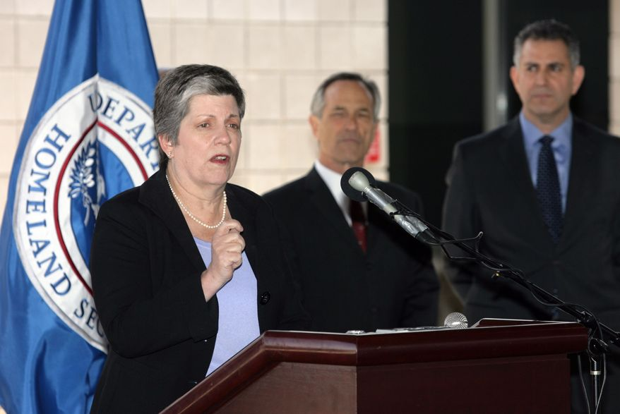 ** FILE ** Secretary of Homeland Security Janet Napolitano speaks in El Paso, Texas, on Thursday, March 24, 2011. Napolitano says security on the southern U.S. border is better than ever and that violence from neighbor Mexico hasn't spilled over in a serious way. Secretary Napolitano was joined by U.S. Customs and Border Protection (CBP) Commissioner Alan Bersin and Under Secretary of Commerce for International Trade Francisco Sanchez. (AP Photo/The El Paso Times, Ruben R. Ramirez)