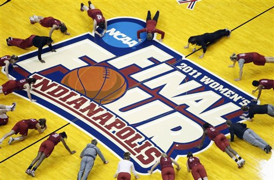 Stanford's Jeanette Pohlen dribbles the ball during practice for a women's NCAA Final Four semifinal college basketball game in Indianapolis, Saturday, April 2, 2011. Stanford plays Texas A&M on Sunday. (AP Photo/Michael Conroy)