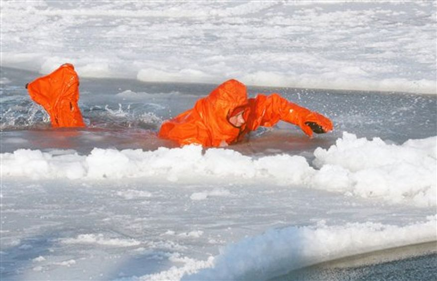 Britain's Prince Harry tries out an immersion suit, during training for the Walking with the Wounded expedition, on the island of Spitsbergen, situated between the Norwegian mainland and the North Pole, Wednesday March 30, 2011. The third in line to the British throne will train for three days before accompanying the team on the first five days of their four-week expedition. (AP Photo/ David Cheskin, Pool)