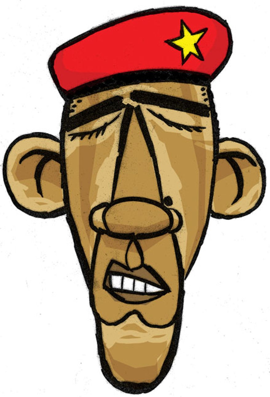 Illustration: Socialist Obama by Alexander Hunter for The Washington Times