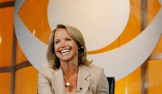 "FILE - In this July 16, 2006 file photo, Katie Couric, CBS News anchor and correspondent, answers questions about her upcoming season anchoring ""CBS Evening News with Katie Couric"" during a news conference in Pasadena, Calif. (AP Photo/Lucas Jackson, File)"