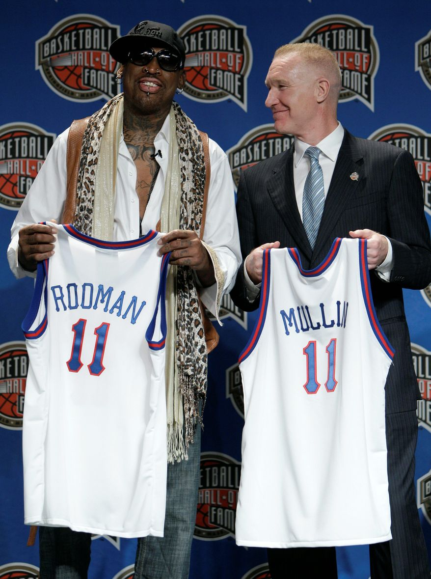 ASSOCIATED PRESS Dennis Rodman and Chris Mullin were announced Monday as new members of the Naismith Memorial Basketball Hall of Fame. In all, 10 new members were announced in Houston before the NCAA Tournament national championship game.